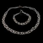 Natürliche kultivierte Süßwasserperlen Schmucksets, Armband & Halskette, mit Kristall & Glas-Rocailles, Eisen Knebelverschluss, Reis, weiß, 2-3mm, 4x4mm, Länge:17 ZollInch,  7.5 ZollInch, verkauft von setzen