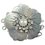 Muschel Schnappschließe, mit kultivierte Süßwasser kernhaltige Perlen & Messing, Blume, 3-Strang, keine, 33.50x37x12mm, Bohrung:ca. 2mm, verkauft von PC