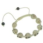 Türkis Woven Ball Armbänder, Natürliche Türkis, mit Wachsschnur & Non- magnetische Hämatit, weiß, 10x13x12mm, Länge:7.5 ZollInch, 12SträngeStrang/Tasche, verkauft von Tasche