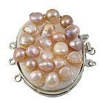 Messing Schnappschließe, mit kultivierte Süßwasser kernhaltige Perlen, oval, Platinfarbe platiniert, 3-Strang, frei von Nickel, Blei & Kadmium, 39x42x12mm, Bohrung:ca. 1.5mm, verkauft von PC