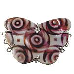Muschel Schnappschließe, mit Messing, Schmetterling, 3-Strang & mit Strass, 54x40x8mm, Bohrung:ca. 1.5mm, verkauft von PC