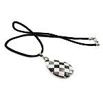 Muschel Halskette, mit Wollschnur, Messing Karabinerverschluss, Tropfen, 29x39x5mm, verkauft per 16.5 ZollInch Strang