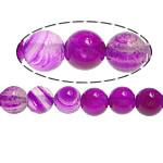 Natürliche Rosa Achat Perlen, rund, Streifen, 8mm, Bohrung:ca. 1mm, Länge:ca. 15 ZollInch, 5SträngeStrang/Menge, verkauft von Menge