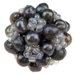 Ball Cluster Zuchtperlen, Natürliche kultivierte Süßwasserperlen, mit Glas-Rocailles, rund, schwarz, 18mm, verkauft von PC