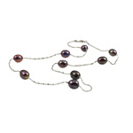 Süßwasserperlen Messing Halskette, Natürliche kultivierte Süßwasserperlen, mit Messing, oval, natürlich, schwarz, 7-8mm, verkauft per 17 ZollInch Strang