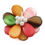 Muschel Brosche, Süßwassermuschel, mit Natürliche kultivierte Süßwasserperlen & Messing, Blume, keine, 45x46mm, verkauft von PC