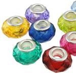 European Acrylperlen, Acryl, Rondell, Messing-Dual-Core ohne troll, gemischte Farben, 14x9mm, Bohrung:ca. 5mm, 100PCs/Tasche, verkauft von Tasche