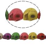 Türkis Perlen, Synthetische Türkis, Schädel, gemischte Farben, 10x8mm, Bohrung:ca. 1mm, ca. 41PCs/Strang, verkauft per ca. 15 ZollInch Strang