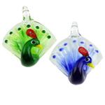 Mode Lampwork Anhänger, Pfau, gemischte Farben, 47x36x22mm, Bohrung:ca. 4x5mm, 12PCs/Box, verkauft von Box