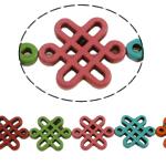 Türkis Perlen, Synthetische Türkis, Chinesischer Knoten, gemischte Farben, 23x28x4mm, Bohrung:ca. 1mm, 14PCs/Strang, verkauft per ca. 15 ZollInch Strang