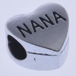 Zink Legierung Europa Perlen, Zinklegierung, Herz, ohne troll & Emaille, frei von Nickel, Blei & Kadmium, 11x11x7.50mm, Bohrung:ca. 4mm, 10PCs/Tasche, verkauft von Tasche