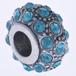 Zink Legierung Europa Perlen, Zinklegierung, Rondell, antik silberfarben plattiert, ohne troll & mit Strass, keine, frei von Nickel, Blei & Kadmium, 13x8mm, Bohrung:ca. 5mm, verkauft von PC