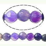 Natürliche violette Achat Perlen, Violetter Achat, rund, facettierte, 4mm, Bohrung:ca. 0.9mm, Länge:ca. 15 ZollInch, 5SträngeStrang/Menge, verkauft von Menge
