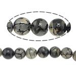 Natürliche Drachen Venen Achat Perlen, Drachenvenen Achat, rund, schwarz, 8mm, Bohrung:ca. 1mm, Länge:ca. 15.5 ZollInch, 10SträngeStrang/Menge, verkauft von Menge