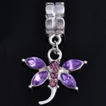 European Stil Zinklegierung Anhänger, Libelle, mit Strass, violett, frei von Nickel, Blei & Kadmium, 32x20x6mm, Bohrung:ca. 5mm, 10PCs/Tasche, verkauft von Tasche