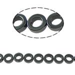 Nicht-magnetische Hämatit Perlen, Non- magnetische Hämatit, Kreisring, schwarz, Grade A, 8x3mm, Bohrung:ca. 1mm, Länge:15.5 ZollInch, 10SträngeStrang/Menge, verkauft von Menge