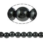 Nicht-magnetische Hämatit Perlen, Non- magnetische Hämatit, rund, schwarz, Grade A, 10mm, Bohrung:ca. 2mm, Länge:15.5 ZollInch, 10SträngeStrang/Menge, verkauft von Menge