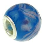Lampwork Perlen European Stil, Rondell, Messing-Dual-Core ohne troll, blau, 13x12mm, Bohrung:ca. 5.5mm, 50PCs/Tasche, verkauft von Tasche