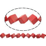 Perle, Würfel, rot, 10x10x10mm, Bohrung:ca. 1.5mm, ca. 28PCs/Strang, verkauft per ca. 15 ZollInch Strang