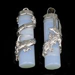 Opal Anhänger, mit Messing, Rohr, 37x10mm, Bohrung:ca. 7mm, 10PCs/Tasche, verkauft von Tasche