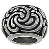 Edelstahl European Perlen, Trommel, ohne troll, originale Farbe, 17x12mm, Bohrung:ca. 8.5mm, 20PCs/Tasche, verkauft von Tasche