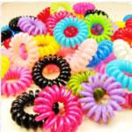 Telefon Draht Haar elastisch, Kunststoff, gemischte Farben, 35-40mm, 100PCs/Tasche, verkauft von Tasche