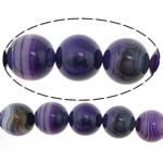 Natürliche violette Achat Perlen, rund, Streifen, 20mm, Bohrung:ca. 2mm, Länge:ca. 16 ZollInch, 3SträngeStrang/Menge, verkauft von Menge