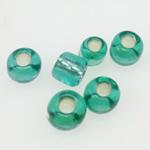 Silbereinzug Glas Rocailles, Glas-Rocailles, rund, grün, 2x1.90mm, Bohrung:ca. 1mm, verkauft von Tasche