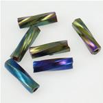 Bugles Seed Perlen drehen, Glas-Rocailles, Rohr, Regenbogen, Twist, 2x6mm, Bohrung:ca. 1mm, verkauft von Tasche