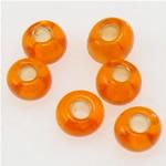 Silbereinzug Glas Rocailles, Glas-Rocailles, rund, rote Orange, 2x1.90mm, Bohrung:ca. 1mm, verkauft von Tasche