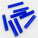 Transparente Glas Rocailles, Glas-Rocailles, Rohr, transluzent, blau, 2x9mm, Bohrung:ca. 1mm, verkauft von Tasche