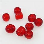 Transparente Glas Rocailles, Glas-Rocailles, transluzent, rot, 2x3mm, Bohrung:ca. 1mm, verkauft von Tasche