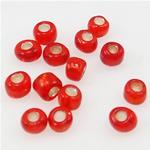 Silbereinzug Glas Rocailles, Glas-Rocailles, rund, rot, 2x3mm, Bohrung:ca. 1mm, verkauft von Tasche