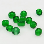 Transparente Glas Rocailles, Glas-Rocailles, Rondell, transluzent, grün, 2x3mm, Bohrung:ca. 1mm, verkauft von Tasche