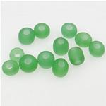 Satinierte Glas Rocailles, Glas-Rocailles, Rondell, grün, 3x3.60mm, Bohrung:ca. 1mm, verkauft von Tasche