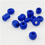 Opake Glas Rocailles, Glas-Rocailles, Rondell, tiefblau, 3x3.60mm, Bohrung:ca. 1mm, verkauft von Tasche
