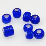 Silbereinzug Glas Rocailles, Glas-Rocailles, rund, blau, 3x3.60mm, Bohrung:ca. 1mm, verkauft von Tasche