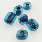Innen Farben Glas Rocailles, Glas-Rocailles, Rondell, blau, 3x3.60mm, Bohrung:ca. 1mm, verkauft von Tasche