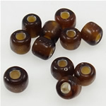 Silbereinzug Glas Rocailles, Glas-Rocailles, Rondell, Kaffeefarbe, 3x3.60mm, Bohrung:ca. 1mm, verkauft von Tasche