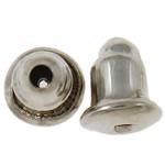 Eisen Barrel Bullet Style Ohrmutter, Platinfarbe platiniert, frei von Nickel, Blei & Kadmium, 6x5mm, Bohrung:ca. 1mm, ca. 200PCs/Tasche, verkauft von Tasche