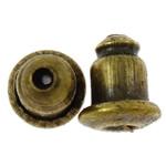 Eisen Barrel Bullet Style Ohrmutter, antike Bronzefarbe plattiert, frei von Nickel, Blei & Kadmium, 6x5mm, Bohrung:ca. 1mm, ca. 200PCs/Tasche, verkauft von Tasche