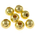 Eisen Schmuckperlen , rund, goldfarben plattiert, verschiedene Größen vorhanden, frei von Nickel, Blei & Kadmium, verkauft von Tasche