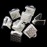 Eisen Bandklemmen, Rechteck, plattiert, keine, frei von Nickel, Blei & Kadmium, 7.50x6x5.50mm, Bohrung:ca. 2x1mm, verkauft von Tasche