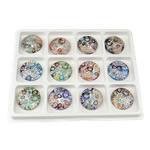 Millefiori Scheibe Glas Anhänger, Lampwork, flache Runde, Goldsand und Silberfolie, gemischte Farben, 50x12mm, Bohrung:ca. 8.7mm, 12PCs/Box, verkauft von Box