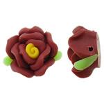 Polymer Ton Perlen , Blume, rot, 17x16x10mm, Bohrung:ca. 1.5mm, 100PCs/Tasche, verkauft von Tasche