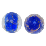 Goldsand Lampwork Perlen, rund, 14mm, Bohrung:ca. 1.5-2mm, 100PCs/Tasche, verkauft von Tasche