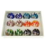 Lampwork Fingerring, Goldsand, gemischte Farben, 28x27x23mm, Bohrung:ca. 19mm, Größe:9.5, 12PCs/Box, verkauft von Box