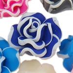 Polymer Ton Perlen , Blume, gemischte Farben, 20x11-22x12mm, Bohrung:ca. 1-2mm, 100PCs/Tasche, verkauft von Tasche