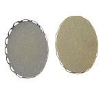 Messing Cabochon Einstellungen, oval, antike Bronzefarbe plattiert, flache Rückseite, frei von Blei & Kadmium, 26x19x2.5mm, 25.5x18.5mm, Innendurchmesser:ca. 25.5x18.5mm, 500PCs/Tasche, verkauft von Tasche