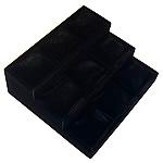Baumwollsamt Armbandständer, mit Holz, Leiter, schwarz, 25x27cm, 9.5cm, 3PCs/Menge, verkauft von Menge